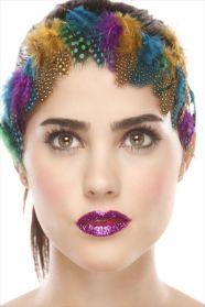 Kalamakeup creative colorful feathers makeup , glitter lips