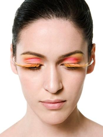 Kalamakeup creative long orange lashes makeup
