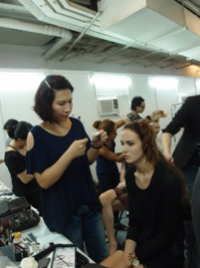 Kalamakeup makeup & hair styling for fashion shows for La Perla at Pacific Place, Hong Kong