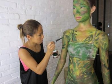 Kalamakeup body painting as a tree for Initial