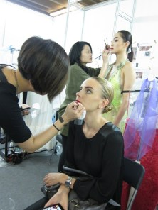 Kalamakeup makeup & hair styling for fashion shows for Harvey Nicholas