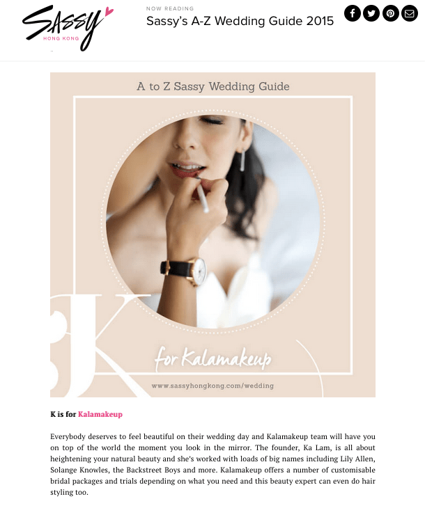 Sassy Wedding Guide on Kalamakeup