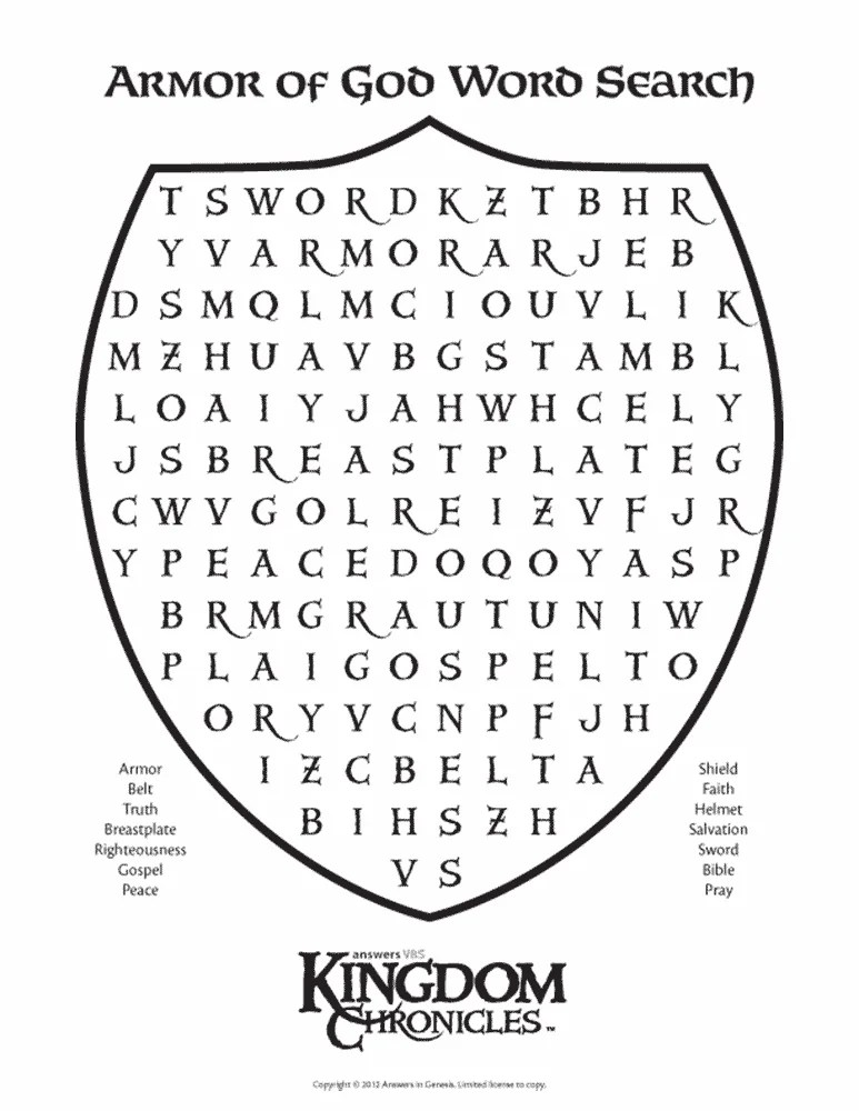 Armor Word Search