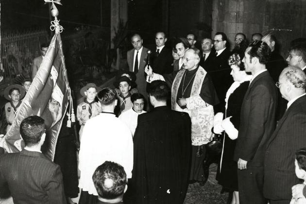The blessing of the standard of the Żabbar sanctuary by Archbishop Michael Gonzi.