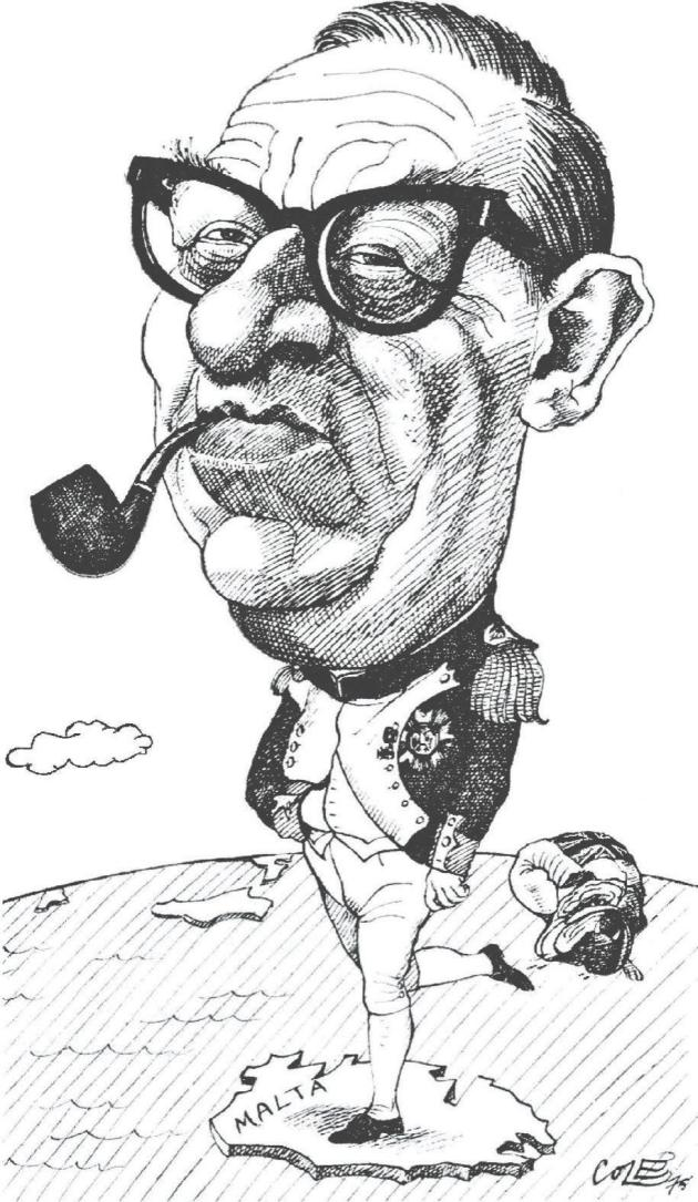 1975. A cartoon by Richard Cole which appeared in London's Times showing Mintoff in the guise of Napoleon Bonaparte kicking the British bulldog out of Malta. Photo: Richard Cole