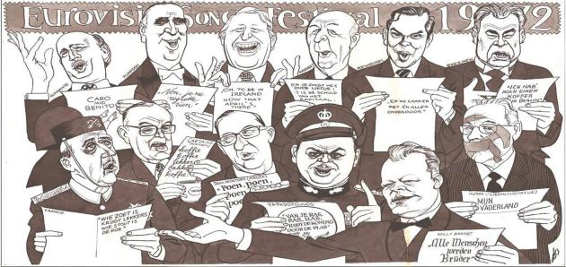 April 1972. A cartoon by Eppo Doevein Amsterdam's Elsevier Magazine. 'Dom Mintoff (Malta)' appears right in the middle of other heads of state (from: third from left). His score repeats 'poen' in Dutch, meaning: Money, money, money, money. Photo: Elsevier Magazine