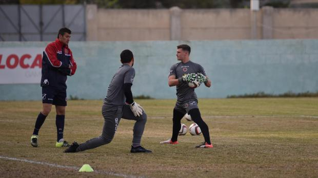 Goalkeepers Jake Galea (right) and Philip Schranz during today's training session. Photo: Mark Zammit Cordina