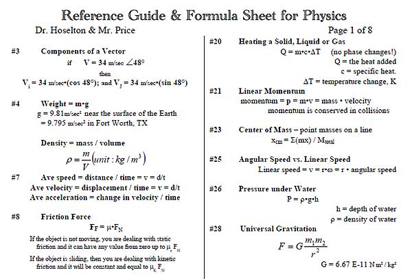 Eebookshelf Reference Guide Formula Sheet For Physics - MVlC