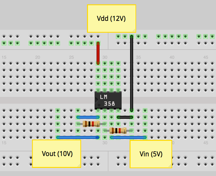 circuit diagram of non inverting amplifier ups inverter wiring ask an educator making a op amp on regarding your 3 58v output make sure that you are sufficiently powering is configured to 10v from 5v