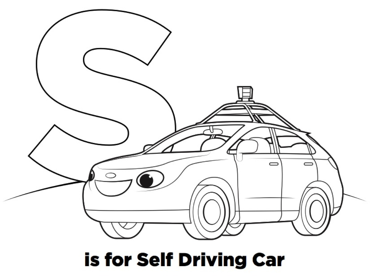 S is for SELF DRIVING CAR (R is for Robots coloring book