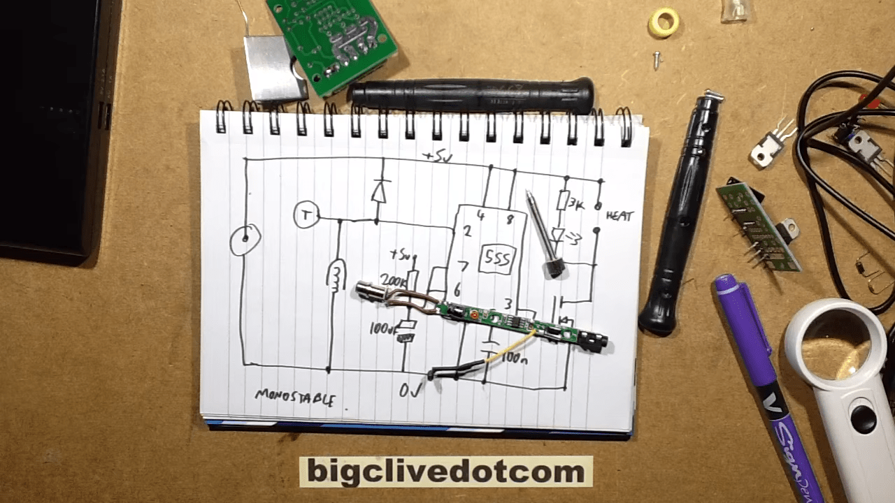 hight resolution of  the pcb powering his usb pen but he reverse engineers the schematic and explains it and yes spoiler that s a 555 at the heart of this circuit