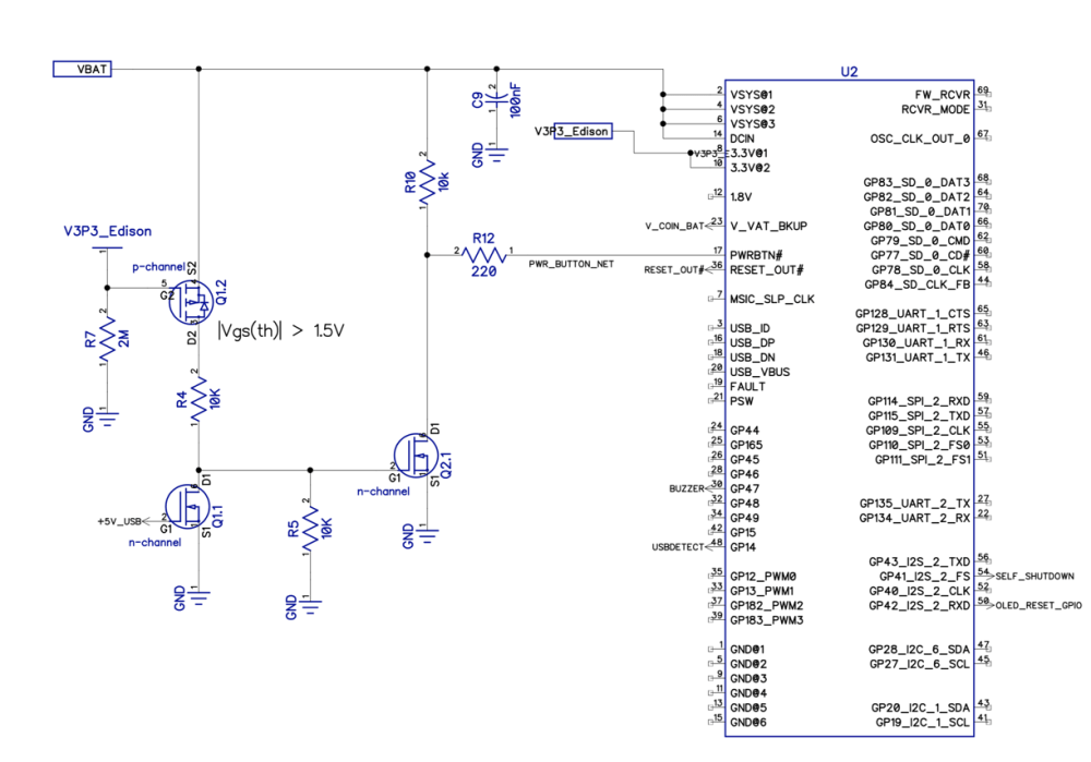 medium resolution of if edison is off and 5v usb is plugged in that will turn on q1 1 and turn off q2 1 resulting in logic high for pwrbtn on edison