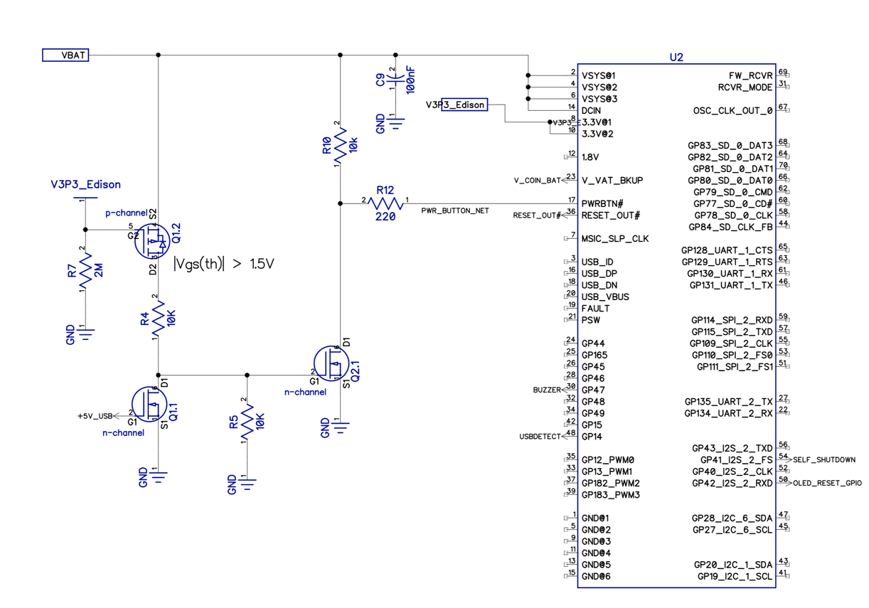 hight resolution of if edison is off and 5v usb is plugged in that will turn on q1 1 and turn off q2 1 resulting in logic high for pwrbtn on edison