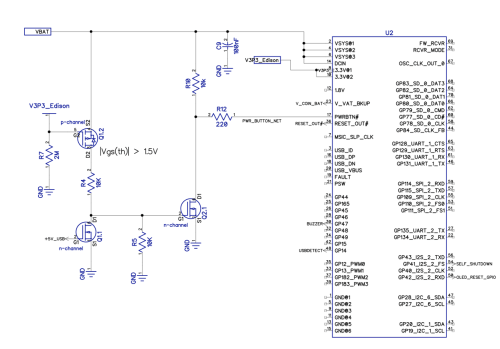 small resolution of if edison is off and 5v usb is plugged in that will turn on q1 1 and turn off q2 1 resulting in logic high for pwrbtn on edison