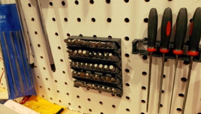 Peg board multi bit holder by dmckay1961 Thingiverse