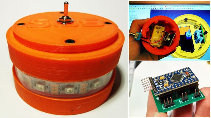 Baliza de señalización casera para moteros hecha con Arduino