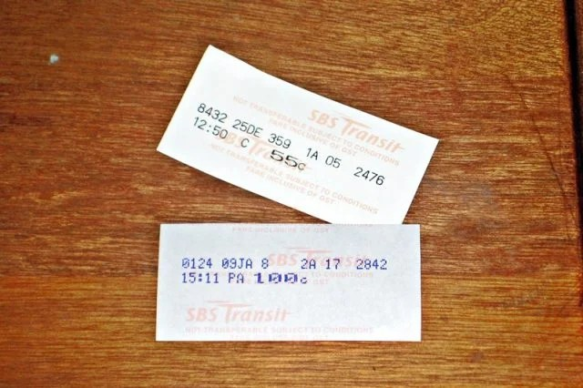 Old bus ticket Singapore
