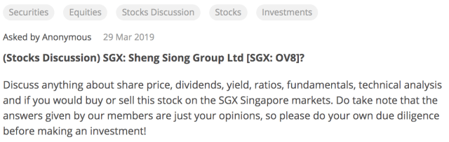 Screen Shot of Seedly Sheng Siong Stocks Discussion