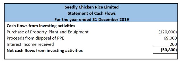 Seedly Chicken Rice Cash Flow Statement investing
