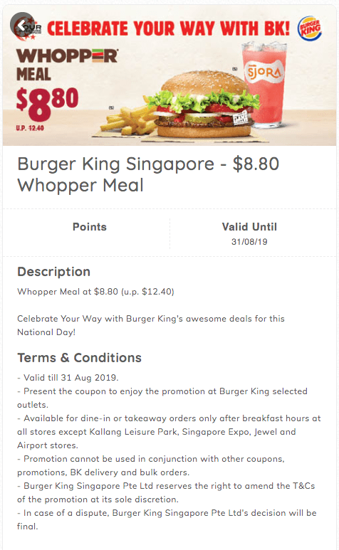 Burger King NDP 2019 $8.80 Whopper meal