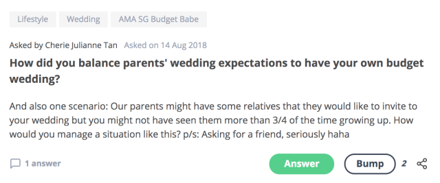 How did you balance parents' wedding expectations to have your own budget wedding?