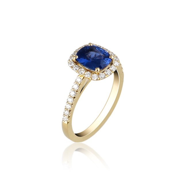Sapphire diamond halo engagement ring
