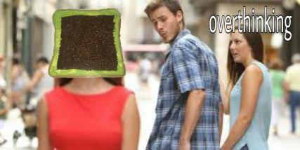 Meme orang overthinking Berbagai sumber
