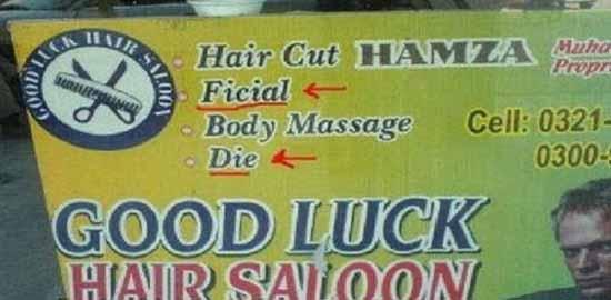 Spanduk potong rambut kocak Berbagai sumber