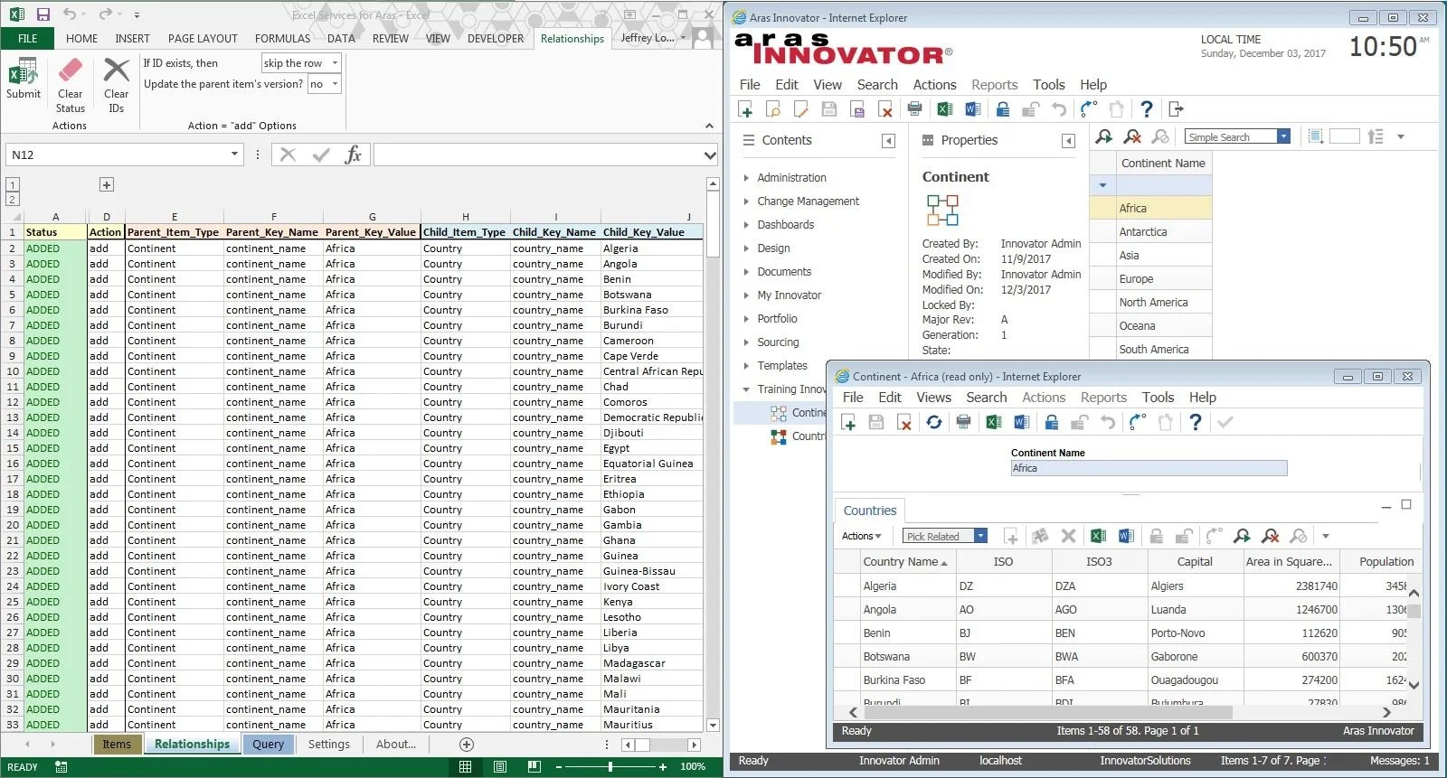 Excel Client For Aras Innovator
