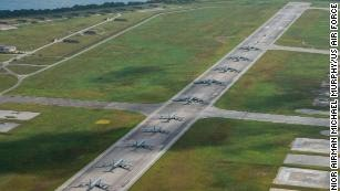 "US military aircraft, including Air Force B-52 bombers, perform an ""Elephant Walk"" April 13, 2020, at Andersen AFB in Guam."