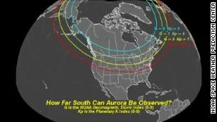 NOAA's Geomagnetic Storm Index measures the intensity of solar activity and how far south the aurora borealis could be observed.