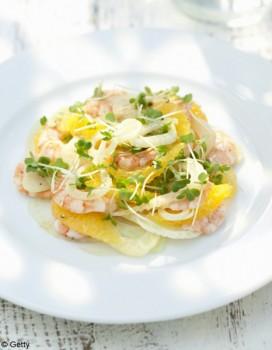 Salade de cresson au pomelo, clémentine et crevettes pimentées