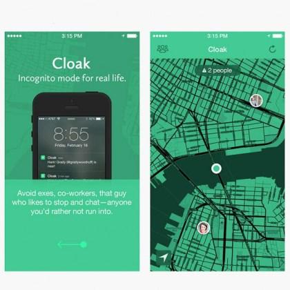 """Interface de Cloak, l'application pour éviter de croiser ses """"amis"""""""