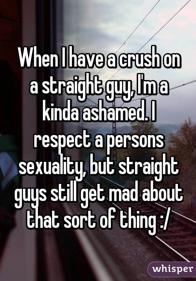 When I have a crush on a straight guy, I'm a kinda ashamed. I respect a persons sexuality, but straight guys still get mad about that sort of thing :/