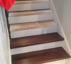 From Carpet To Wood Stairs Redo Cheater Version Hometalk | Square Rug For Stair Landing | Area Rugs | Stair Treads | Handrail | Flooring | Mat