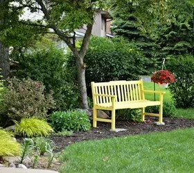 sunny yellow bench front