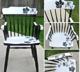 diy painted windsor chairs doll stroller high chair set modern floral makeover with stencil hometalk