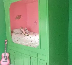 old kitchen cabinets into built-in bed | hometalk