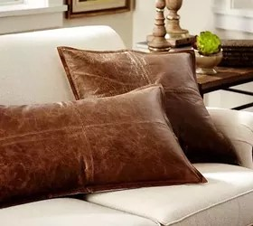 DIY Pillow: Faux Leather Pottery Barn Knock Off