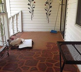 painted concrete porch with a stone