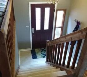Split Foyer Staircase Gets A Makeover Hometalk | Split Level Stair Railing | Wrought Iron | Julia | Modern | Easy Diy | Fancy
