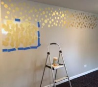 Golden Stenciled Bedroom Wall   Hometalk