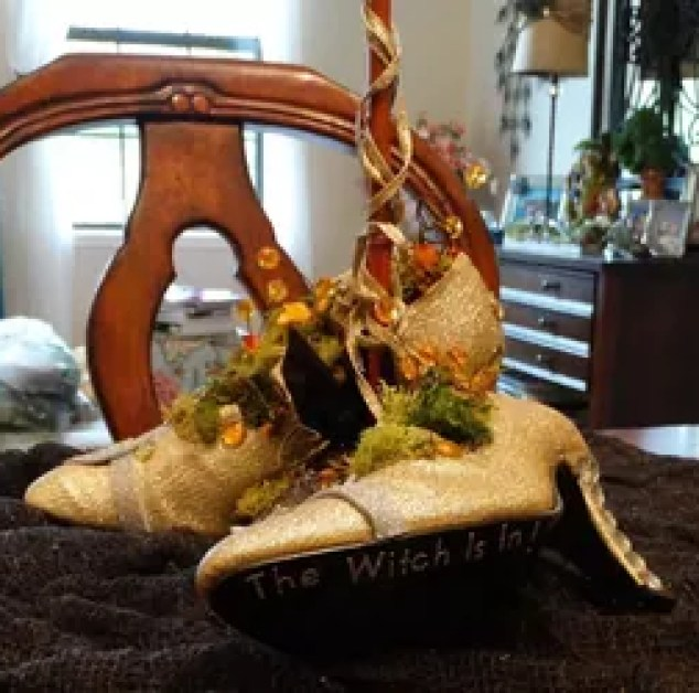 Witch Shoes Decoration Decorations Repurposing Upcycling Seasonal Holiday Decor