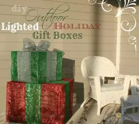 Outdoor Lighted Christmas Gift Boxes Front Porch Christmas Decor