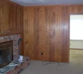 Painted Paneling and Whitewashed Brick Fireplace  Hometalk