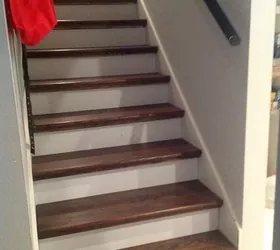 From Carpet To Wood Stairs Redo Cheater Version Hometalk | Replacing Particle Board Stair Treads | Basement Stairs | Carpeted Stairs | Plywood | Stair Nosing | Stair Case