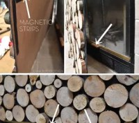 Faux Stacked Log Fireplace Screen