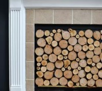 Faux Stacked Log Fireplace Screen | Hometalk