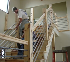 Diy Cable Rail Staircase Hometalk   Wood And Cable Stair Railing   Stairway   Wrought Iron   Staircase Railing   White   Vertical