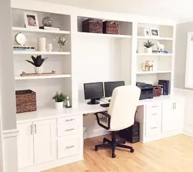 painted home office built ins How to Make a Fake Built-In Desk for Less | Hometalk